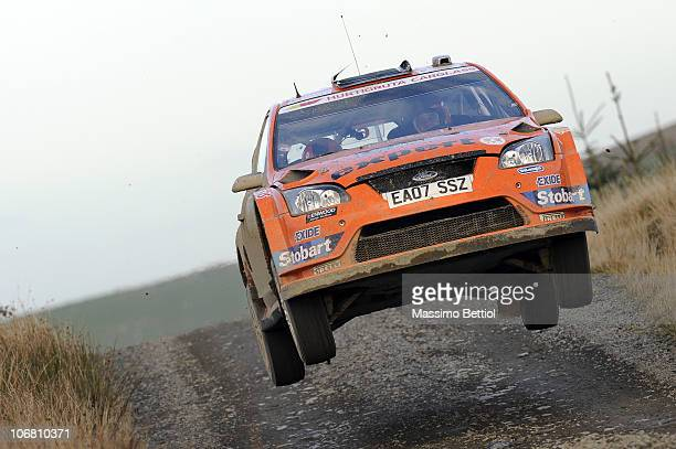 Henning Solberg of Norway and Stephane Prevot of Belgium compete in their Stobart Ford Focus during Leg 2 of the WRC Wales Rally GB on November 13...