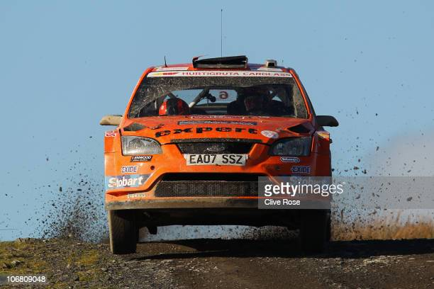 Henning Solberg of Norway drives the Stobart Ford Focus during the Halfway stage of the Wales Rally GB on November 13 2010 in Llandovery Wales