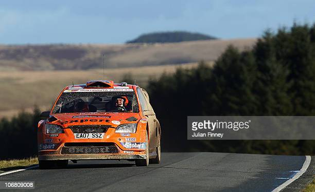 Henning Solberg of Norway driving in the Stobart MSport Ford Rally Team in action during stage two of the Wales Rally GB at Four ways on November 13...
