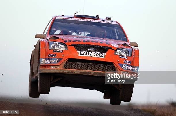 Henning Solberg of Norway driving in the Stobart MSport Ford Rally Team in action during stage two of the Wales Rally GB at Monument Hill on November...