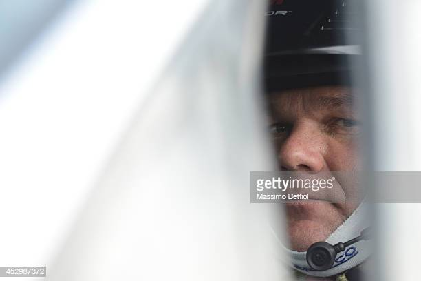 Henning Solberg of Norway portrait during the Shakedown of the WRC Finland on July 31 2014 in Jyvaskyla Finland