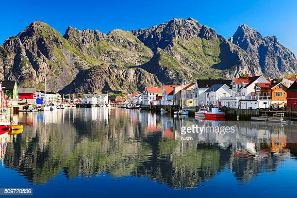 henningsvaer, picturesque norwegian fishing village in lofoten islands - norway stock pictures, royalty-free photos & images