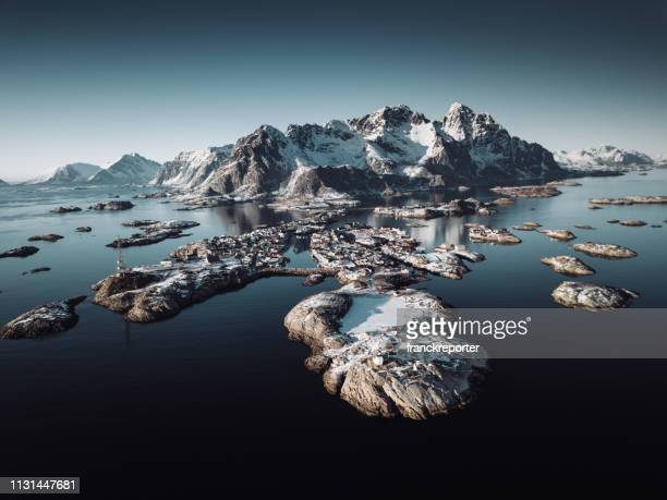 henningsvær aerial view - lofoten stock pictures, royalty-free photos & images