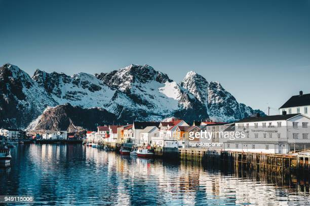 henningsvær village at the lofoten - nordic countries stock pictures, royalty-free photos & images
