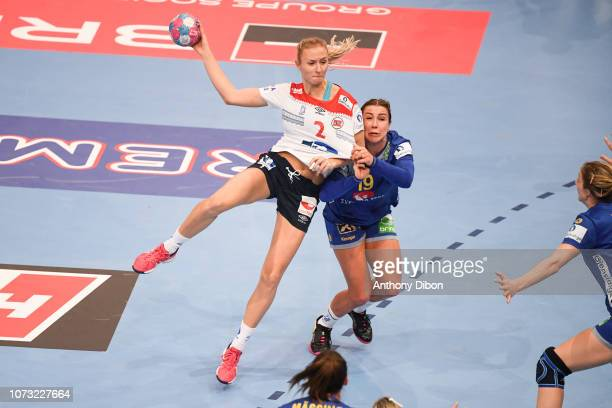 Henny Ella Reistad of Norway and Anna Lagerquist of Sweden during the EHF Euro match between Sweden and Norway on December 14 2018 in Paris France