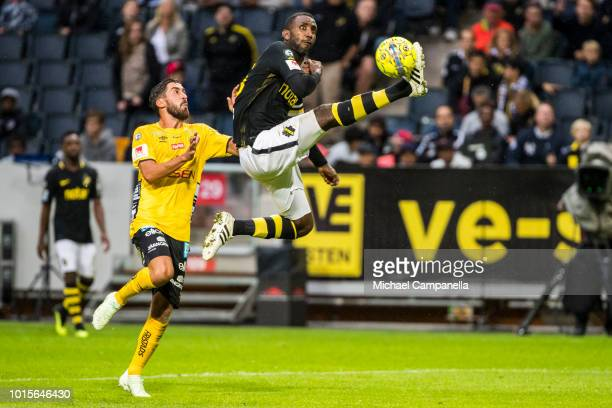 Henok Goitom of AIK jumps to control the ball during an Allsvenskan match between AIK and IF Elfsborg at Friends Arena on August 12 2018 in Stockholm...