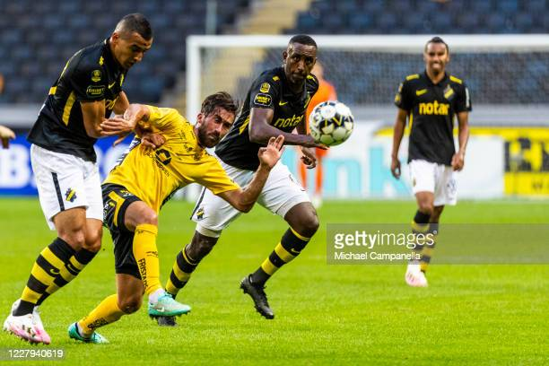 Henok Goitom of AIK runs after the ball during the Allsvenskan match between AIK and IF Elfsborg at Friends Arena on August 6, 2020 in Stockholm,...
