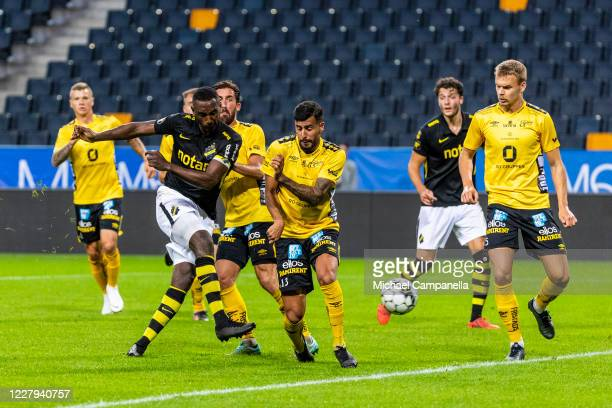 Henok Goitom of AIK scores the 1-2 reduction goal during the Allsvenskan match between AIK and IF Elfsborg at Friends Arena on August 6, 2020 in...