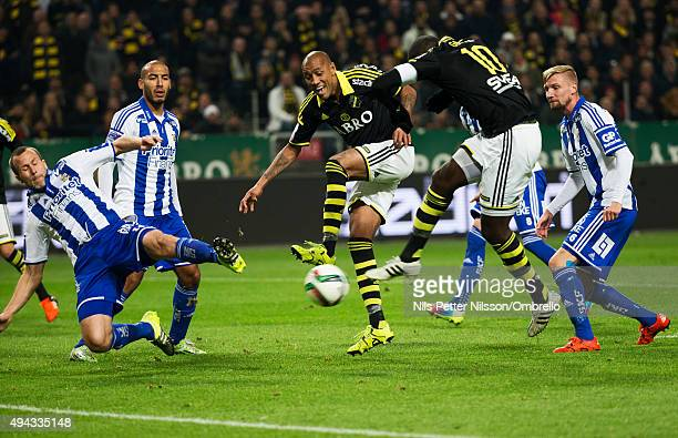 Henok Goitom scores 10 during the Allsvenskan match between AIK and IFK Goteborg at the Friends arena on October 26 2015 in Solna Sweden