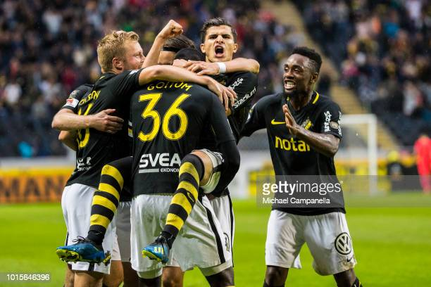 Henok Goitom Sebastian Larsson Tarik Elyounoussi Daniel Sundgren and Heradi Rashidi of AIK celebrate the 10 goal during an Allsvenskan match between...