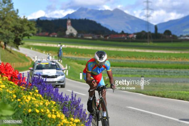 Henok Mulueberhan of Eritrea / Landscape / Mountains / Church / during the Individual Time Trial Men Under 23 a 278km race from Wattens to Innsbruck...