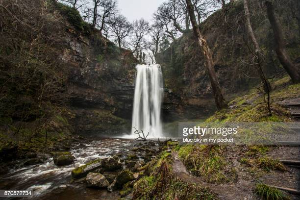 Henrhyd Waterfall, in winter. Powys, Wales, UK