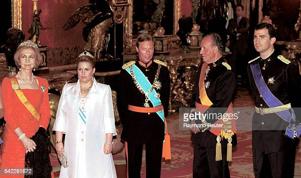 Henri and Maria Teresa of Luxembourg in the company of the Royal Couple and Prince Felipe of Spain at the Gala held in the Royal Palace of Madrid