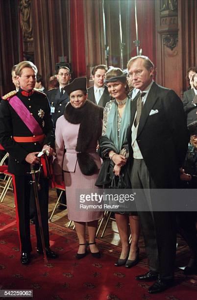 Henri and Maria-Teresa, Margaretha and Jean of Luxembourg at the Town Hall.