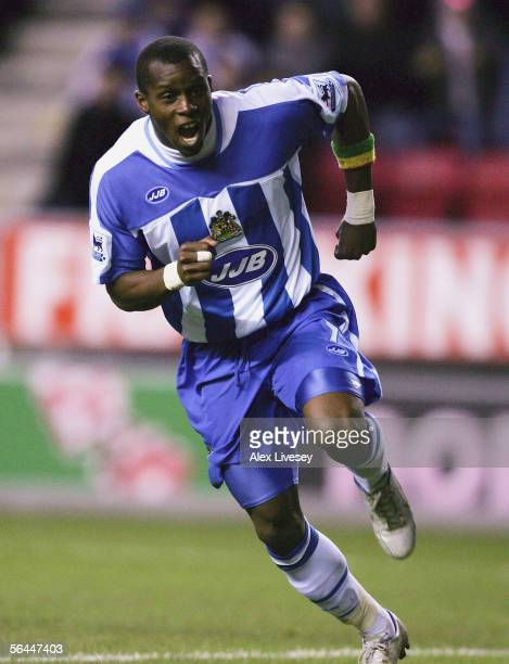 Henri Camara of Wigan Athletic celebrates his second goal during the Barclays Premiership match between Wigan Athletic and Charlton Athletic at the...