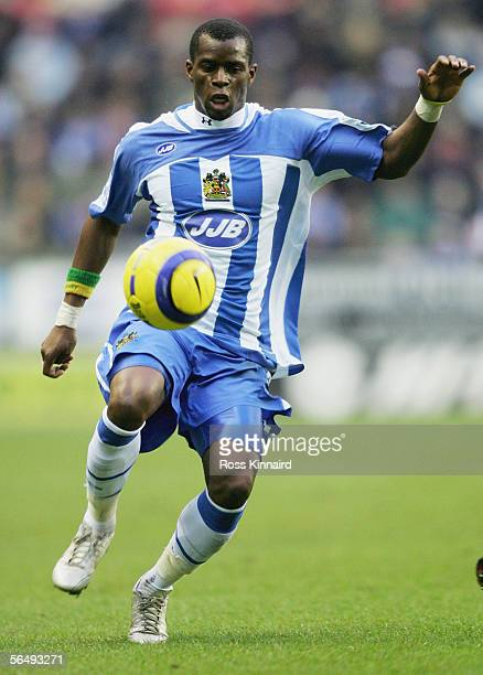 Henri Camara of Wigan in action during the Barclays Premiership match between Wigan Athletic and Manchester City at the JJB Stadium on December 26...