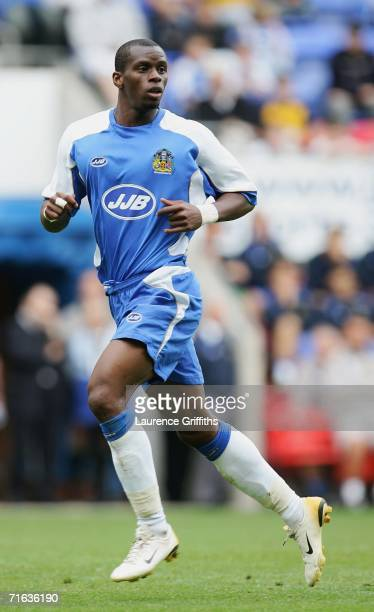 Henri Camara of Wigan in action during the Pre Season Friendly between Wigan Athletic and Vitesse Arnhem at the JJB Stadium on August 12 2006 in...