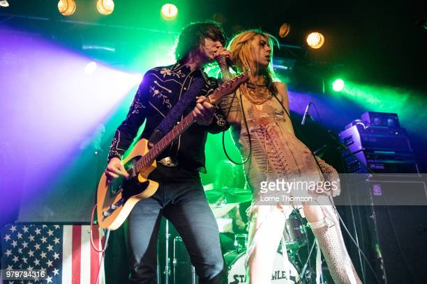 Henri Cash and Arrow de Wilde of Starcrawler perform at The Garage on June 20 2018 in London England