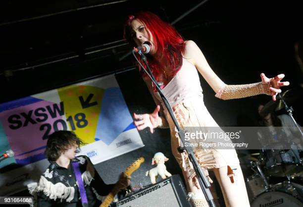 Henri Cash and Arrow de Wilde of Starcrawler perform onstage at the Music Opening Party during SXSW at The Main on March 13 2018 in Austin Texas