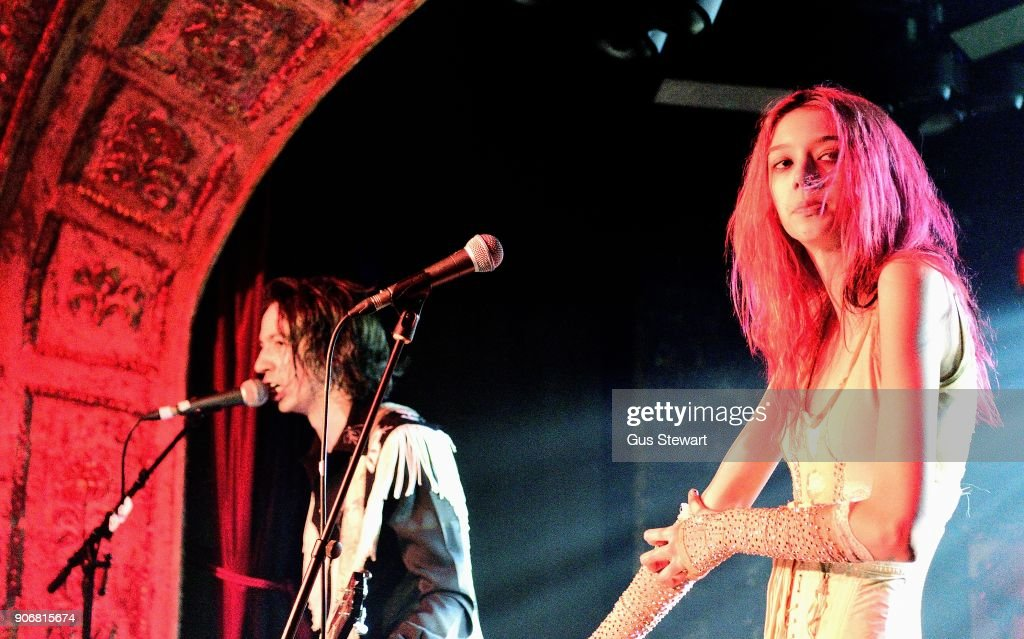 Henri Cash and Arrow de Wilde of Starcrawler performs at Omeara London on January 18, 2018 in London, England.