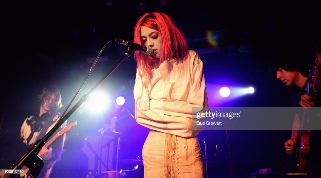 Henri Cash, Arrow de Wilde and Tim Franco of Starcrawler perform at Omeara London on January 18, 2018 in London, England.