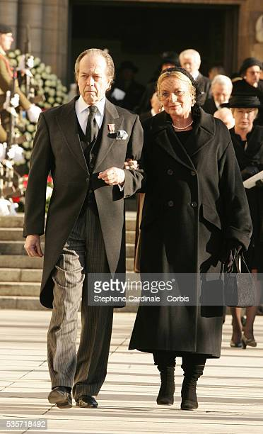 HRH Henri Count of Paris and countess attend the funeral of Grand Duchess of Luxembourg JosephineCharlotte daughter of former Belgian King Leopold...