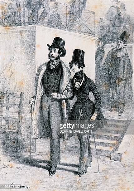 Henri de Latouche with George Sand a female student in Paris dressed in men's clothing Engraving by Paul Gavarni La Chatre Musée George Sand Et De La...