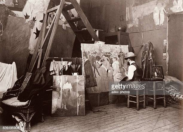 Henri de TolouseLautrec painting 'La Danse au Moulin Rouge' In 1890