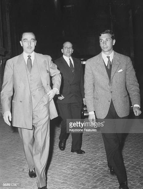 Henri d'Orleans the Count of Paris and Alain Vidal Maquet arriving at the Excelsior Hotel in Rome April 1959