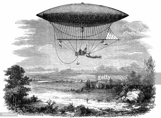 Henri Giffard's steam powered steerable airship during its ascent of 25 September 1852 cigar shaped gasbag From Louis Figuier 'Les Merveilles de la...