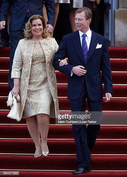 Henri Grand Duke of Luxembourg and Maria Teresa Grand Duchess of Luxembourg after the civil wedding ceremony of Prince Guillaume Of Luxembourg and...