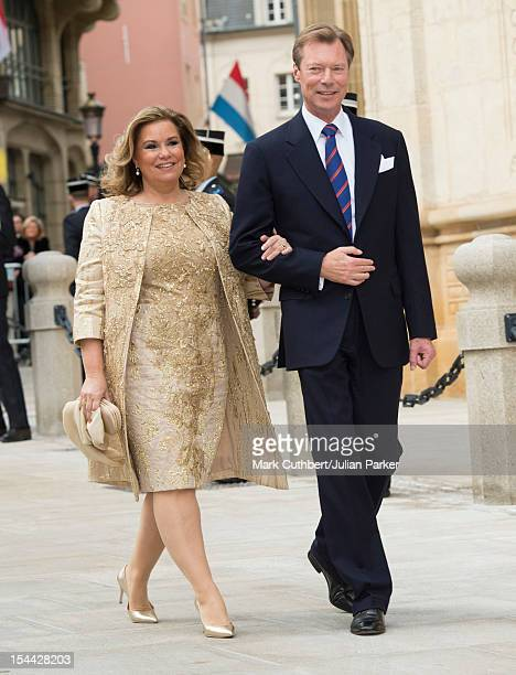 Henri Grand Duke of Luxembourg and Maria Teresa Grand Duchess of Luxembourg arrive back at the Royal Palace after the civil wedding ceremony of...