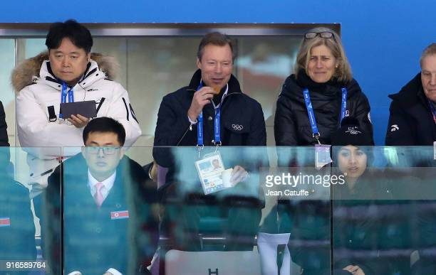 Henri, Grand Duke of Luxembourg attends the women's ice hockey preliminary match between Korea and Switzerland during the 2018 Winter Olympic Games...