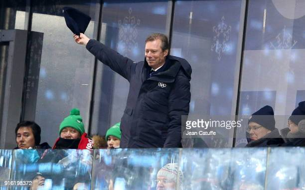 Henri, Grand Duke of Luxembourg greets the athletes of Luxembourg during the Opening Ceremony of the PyeongChang 2018 Winter Olympic Games at...