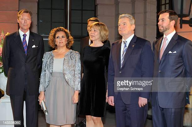 HRH Henri Grand Duke of Luxembourg Maria Theresa Grand Duchess of Luxembourg Daniela Schadt with German President Joachim Gauck and Guillaume...