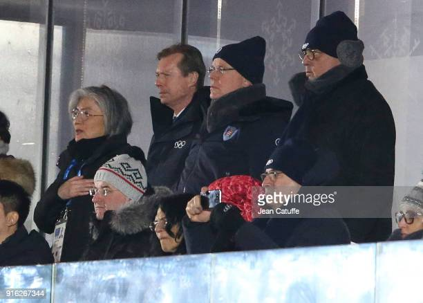 Henri, Grand Duke of Luxembourg, Prince Albert II of Monaco during the Opening Ceremony of the PyeongChang 2018 Winter Olympic Games at PyeongChang...