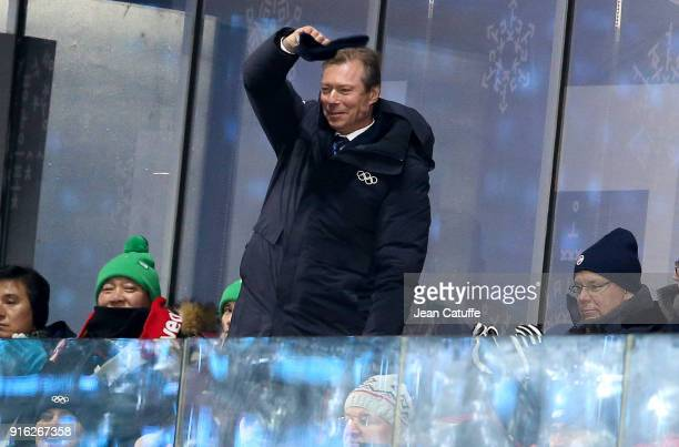 Henri, Grand Duke of Luxembourg salutes the athletes of Luxembourg during the Opening Ceremony of the PyeongChang 2018 Winter Olympic Games at...