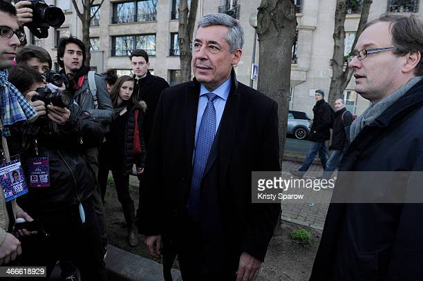 Henri Guaino arrives at the protest march 'La Manif Pour Tous' on February 2 2014 in Paris France Parisian Police expected over 100000 protesters to...