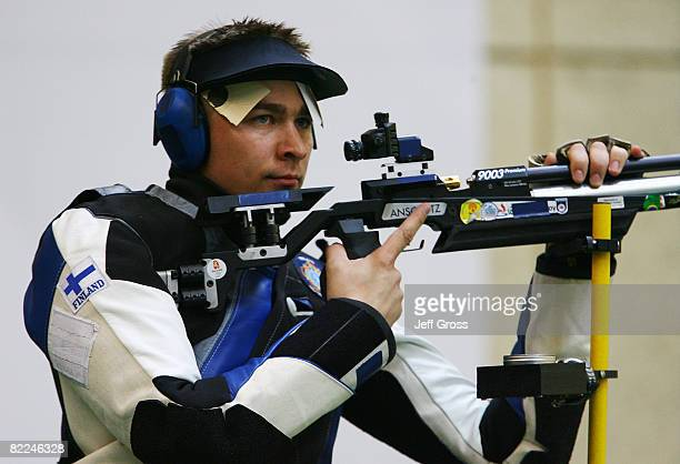 Henri Hakkinen of Finland competes in the Men's 10m Air Rifle Final at the Beijing Shooting Range Hall on day 3 of the Beijing 2008 Olympic Games on...