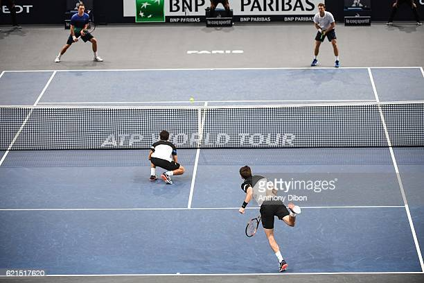 Henri Kontinen John Peers Nicolas Mahut and Pierre Hugues Herbert during the Mens Double Final match on day seven of the BNP Paribas Masters at Hotel...