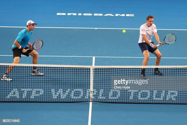 Henri Kontinen of Finland and John Peers of Australia in action in the Men's doubles final against Leonardo Mayers and Horacio Ceballos of Argentina...