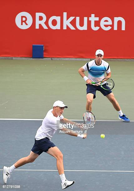 Henri Kontinen of Finland and John Peers of Australia in action during the men's doubles first round match against Robert Lindstedt of Sweden and...
