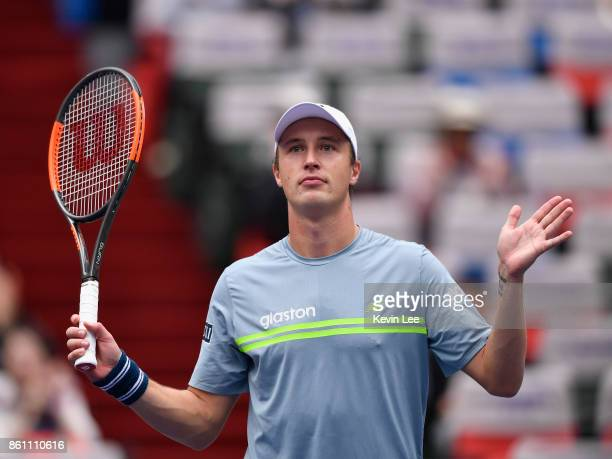 Henri Kontinen of Finland celebrates after winning the match between Henri Kontinen of Finland and John Peers of Australia and Jamie Murray of Great...