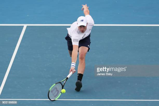 Henri Kontinen of Finland competes in his match against Mike Bryan and Bob Bryan of the USA on day three of the 2018 World Tennis Challenge at...