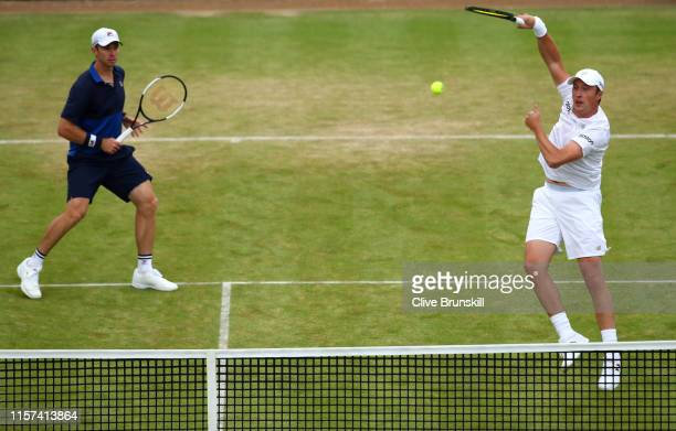 Henri Kontinen of Finland, partner of John Peers of Australia plays a forehand during his Quarter-Final Doubles Match against Jamie Murray and Neal...