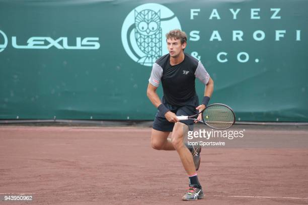 Henri Laaksonen follows through with a shot during the first round of the US Men's Clay Court Championship on April 9 2018 at River Oaks Country Club...