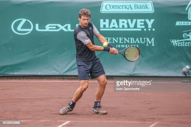 Henri Laaksonen hits a backhand during the first round of the US Men's Clay Court Championship on April 9 2018 at River Oaks Country Club in Houston...