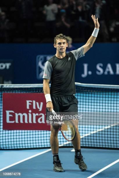 Henri Laaksonen of Switzerland celebrates after winning the Swiss Indoors Basel tennis match between Henri Laaksonen and Marco Cecchinato on October...