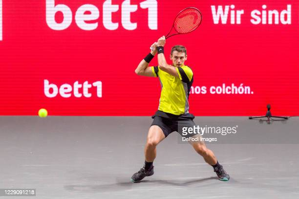 Henri Laaksonen of Switzerland looks on during day four of the Bett1Hulks Indoor tennis tournament between Henri Laaksonen and Felix Auger-Aliassime...