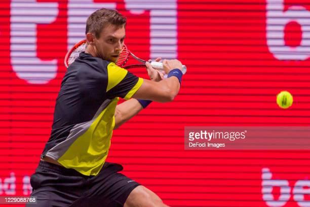 Henri Laaksonen of Switzerland looks on during day two of the Bett1Hulks Indoor tennis tournament between Daniel Altmaier and Henri Laaksonen at...